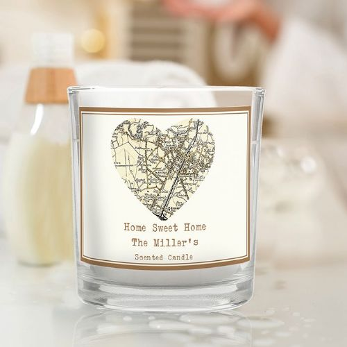 Personalised New Map Heart Scented Jar Candle